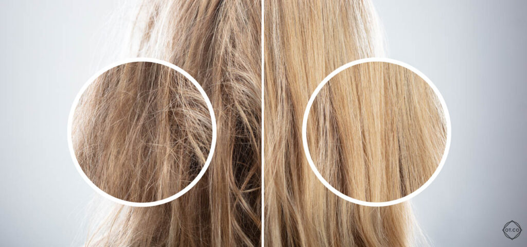 Efekt przed i po suplementacji witamin na włosy