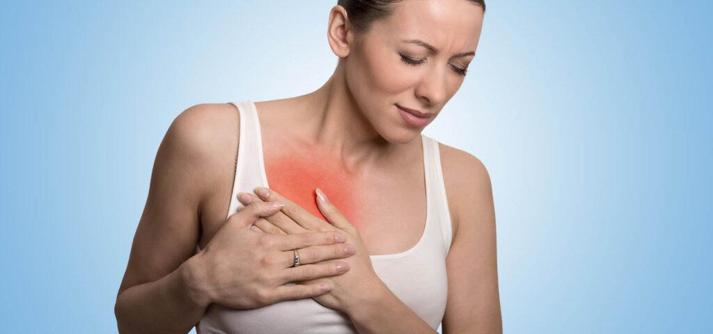 zaczerwienienie w okolicy piersi, ból piersi